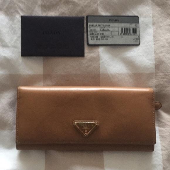 5f6889ddbc Prada Bags | Camel Saffiano Leather Wallet | Poshmark